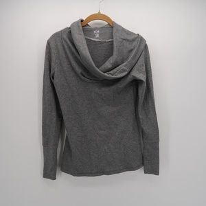 A.n.a Gray Long Sleeve Hooded Pullover Sweatshirt